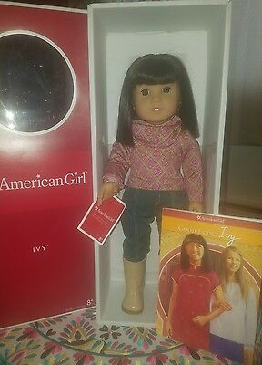 American Girl Ivy Doll NIB New in Box, Book and Full Meet Outfit