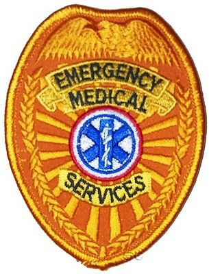 "Emergency Medical Services First Responder EMS Patch Shield Badge 3 1/2"" Gold"