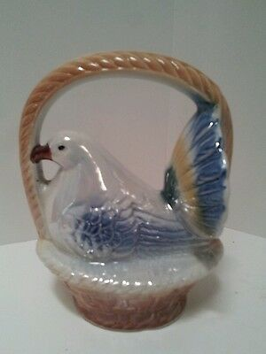 Dove Chicken Bird In Basket Glazed Figurine Made in Brazil Porcelain