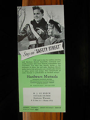 Old Vintage Advertising Blotter Hardware Mutuals MJ Le Breck Manitowoc Wisconsin