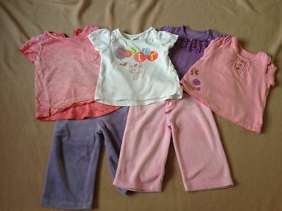 Girl 6-9 Month Outfit Bundle. Trousers ,Short Sleeve Tops & Reversible Jacket