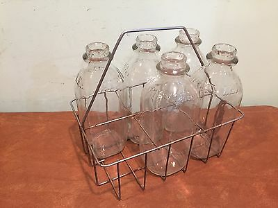 "Antique Vintage Metal Wire Milk Bottle Carrier w/ 5 Glass ""Dairylea"" Milk Bottle"