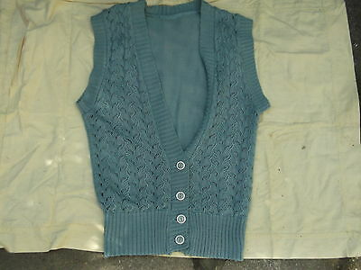 "ladies pale blue knitted longish waistcoat 34"" chest"
