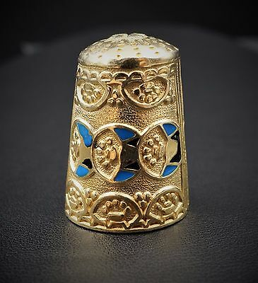 Ornate Sterling Silver Vermeil Embossed Enamel Thimble Collectible M410