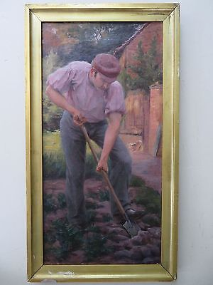 Indistinctly Signed G.C. superb SCOTTISH early 20thC OIL PAINTING of a GARDENER