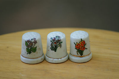 Old Vintage Collectible Sewing Thimbles Lot Set of 3 Decorated w/ Flowers China