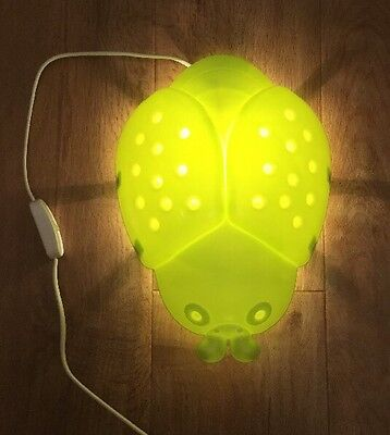 Children's IKEA Green Bug Wall Mounted Lamp Excellent Condition