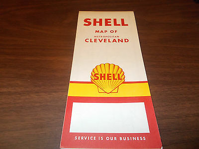 1958 Shell Cleveland Vintage Road Map