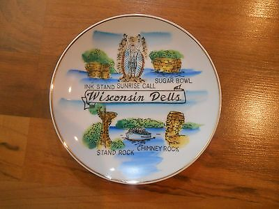 Old Vintage Souvenir Wall Hanging Plate Wisconsin Dells Ink Sunrise Sugar Stand