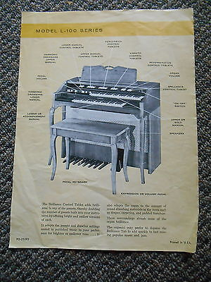 Old Vintage Model L-100 Series Organ Musical Instrument Advertisement Page Music