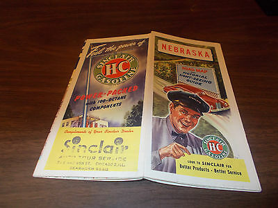 1947 Sinclair Nebraska Vintage Road Map
