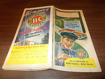 1946 Sinclair Chicago and Vicinity Vintage Road Map