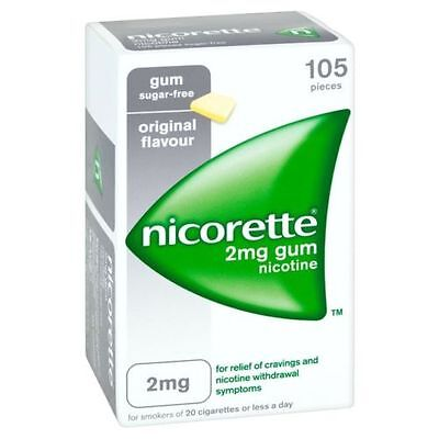 NICORETTE 2mg LOW STRENGTH original sugar free gum - 105 or 210 pieces
