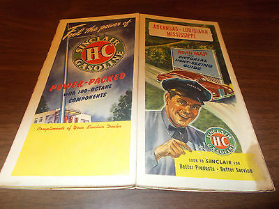 1946 Sinclair Arkansas/Louisiana/Mississippi Vintage Road Map