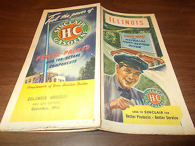 1946 Sinclair Illinois Vintage Road Map