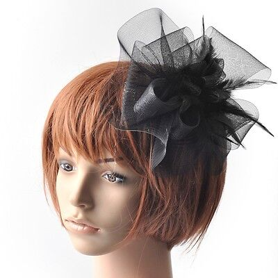 Party lady wedding handmade fascinator feather feather hair accessory clip black