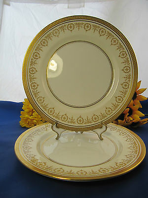 "AYNSLEY & Sons GOLD DOWERY Dinner Plates 10 1/2"" England Set Of 2"