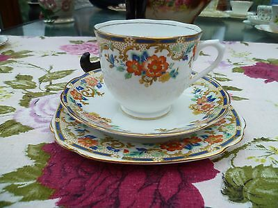 Pretty Vintage Royal Albert Crown China Trio Tea Cup Saucer Blue Floral 7573