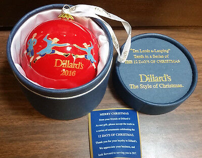 "Dillard's 12 Days Of Christmas Ornament 2016 ""Ten Lords a-Leaping"" NIB Qwik Ship"