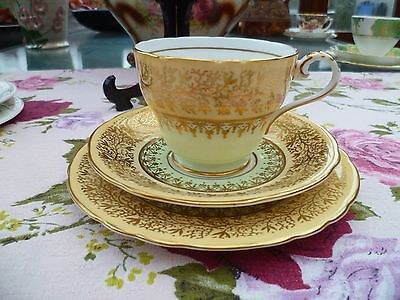 Vintage Aynsley English China Trio Tea Cup Saucer Plate Green Yellow Gilded