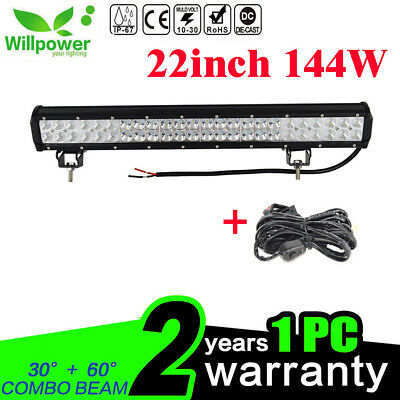22Inch 144W LED Light Bar for Offroad Jeep Truck Boat ATV 4WD With Wiring Kit