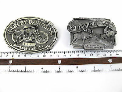 Vintage Lot Of 2 Belt Buckles Harley Davidson & Yellowstone