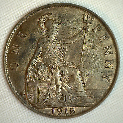 1918 Great Britain Penny KM#810 Bronze Coin George V AU #P