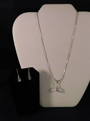 Pre-Owned .925 Sterling Silver w/ Crystals Earring & Necklace Set (S2)