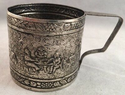 Antique Hammered Childs Silver Plate Cup -Colonial Illustration -Art- A Hammer C
