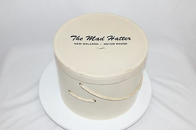 """Vintage """"THE MAD HATTER"""" Hat Box W/Hat Millinery New Orleans/Baton Rouge"""