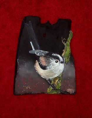 Long Tailed Tit Original Oil On Slate Painting Wall Hanging