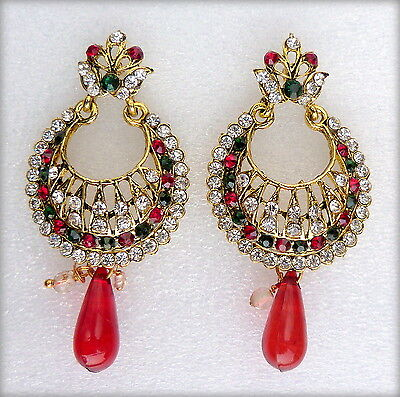Indian Bollywood Red Green Gold Plated Wedding Bridal Party Jewellery Earrings
