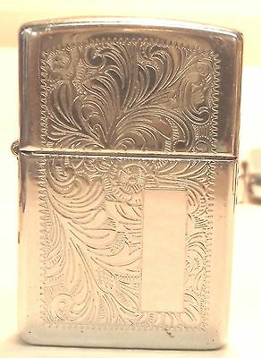 Vintage 1997 Zippo Tooled Chrome Case A XIII space for monogram SALE