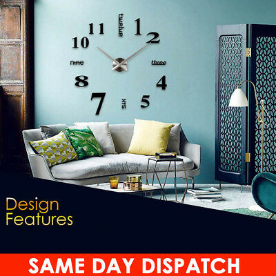 Modern DIY Large Number Wall Clock 3D Mirror Surface Sticker Home Decor Gifts