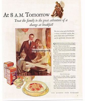 1926 Quaker Puffed Rice Cereal art Vtg Print Ad