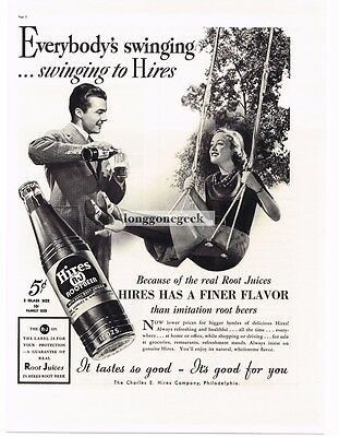 1937 HIRES ROOT BEER Woman on Swing Vtg Print Ad
