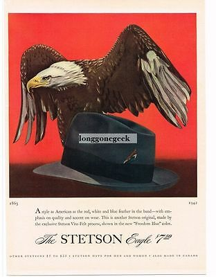 1942 Stetson Eagle Hat Fedora Freedom Blue Bald art Vtg Print Ad
