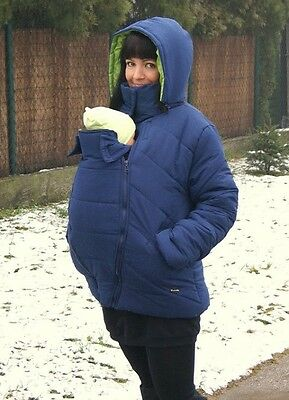 Navy L Uk 12-14 3 In 1 Babywearing Pregnancy Winter Jacket Front Baby Carriers