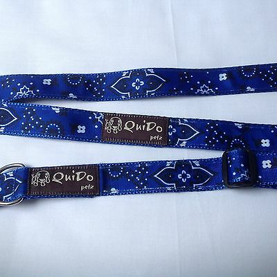 QuiDo Petz blue floral dog lead and collar.