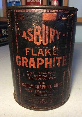 Vintage Asbury Flake Graphite Mills Tin Can Advertising Man Cave Paper Cardboard