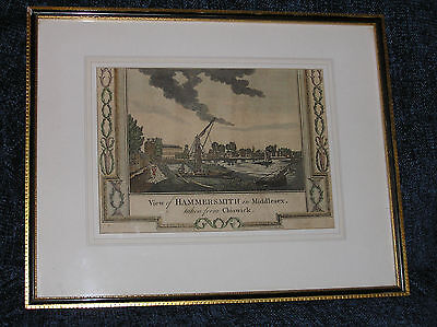 Antique 18th Century hand-coloured engraving of a View of Hammersmith