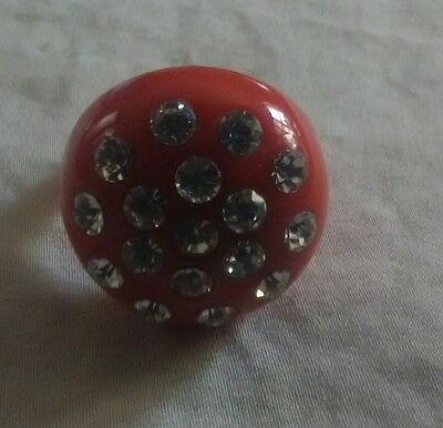Vintage Red Lucite Domed Ring With Rhinestones Size 9