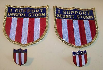 I Support Desert Storm  Two Patches Two Lapel Pins Original Nos  Mint Condition