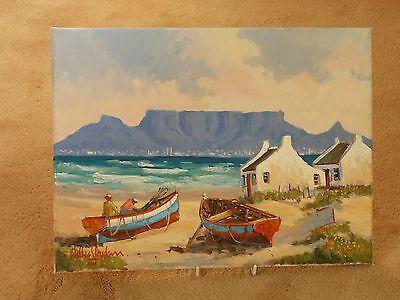 Super Oil Painting On Canvas 'checking The Boats' Signed Willie Strydom ~ Africa