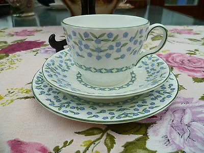 Pretty Aynsley English China Trio Tea Cup Saucer Plate Forget Me Not