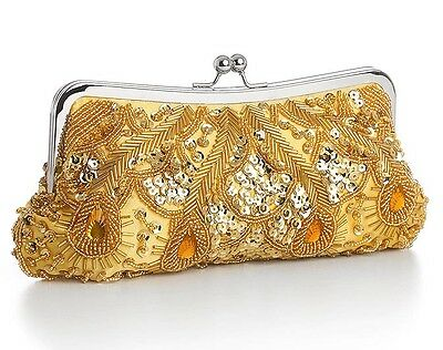 Gold Evening Bag with Sparkling Beads, Sequins & Gems - 3811EBG
