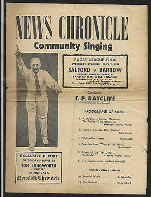Rare 1938 Rugby League Challenge cup Final Songsheet