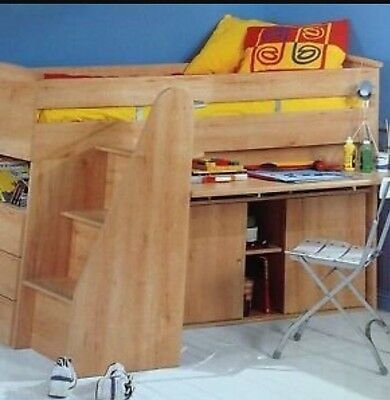 Gautier Galaxy Cabin Bed Mid Sleeper With Stairs And Desk