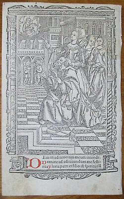 Book of Hours Leaf Hardouin Woodcut Border Miniature Vision Virgin Chil - 1510