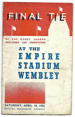 Rare 1936 Rugby League Challenge cup Final Leeds v Warrington